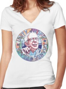 Bernie Unity Hope Peace Change 2016 Women's Fitted V-Neck T-Shirt