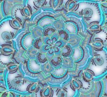 Summer Bloom - floral doodle pattern in turquoise & white Sticker