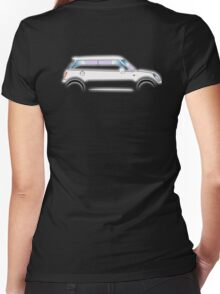 MINI, CAR, WHITE, BMW, BRITISH ICON, MOTORCAR Women's Fitted V-Neck T-Shirt