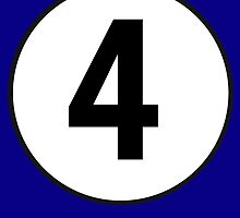 4, Fourth, Number Four, Number 4, Racing, Four, Competition, on Navy Blue by TOM HILL - Designer