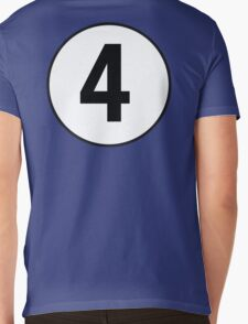 4, Fourth, Number Four, Number 4, Racing, Four, Competition, on Navy Blue Mens V-Neck T-Shirt