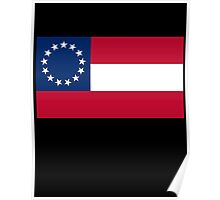 Stars & Bars, USA, America, First American National Flag, 13 stars, 1861 on Black Poster