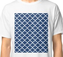 Navy Blue White Quatrefoil Classic T-Shirt