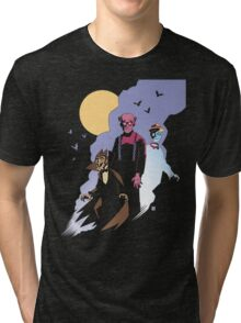 Mike Mignola style Count Chocula, Franken Berry, and Boo-Berry Tri-blend T-Shirt