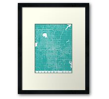 Oklahoma City map turquoise Framed Print