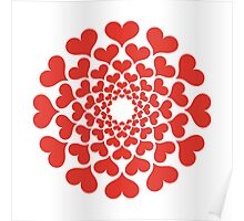 abstract red heart flower Poster