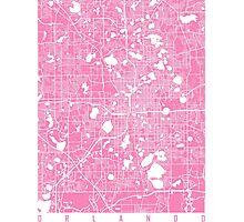 Orlando map pink Photographic Print
