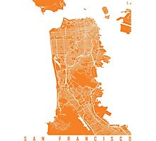 San Francisco map orange Photographic Print