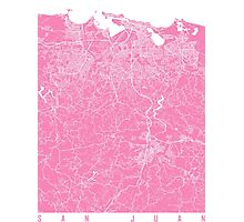 San Juan map pink Photographic Print