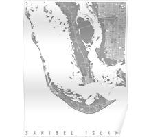 Sanibel island map grey Poster
