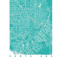 Santa Ana map Turquoise Photographic Print