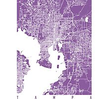 Tampa map lilac Photographic Print