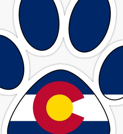 Colorado flag paw print Sticker