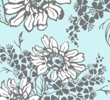 Sky Blue Grey Floral Pattern Sticker