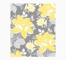 Yellow Grey Flowers Pattern Classic T-Shirt