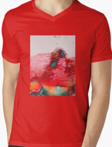 Abstract Painting Red & Gold Mens V-Neck T-Shirt