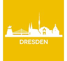 Dresden City Skyline, white Photographic Print