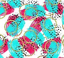 Abstract Aqua Blue, Pink, & Faux Gold Brushstrokes by Blkstrawberry
