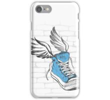 Vintage Sneakers with wings, hand drawing iPhone Case/Skin