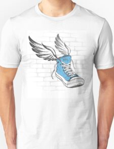Vintage Sneakers with wings, hand drawing T-Shirt