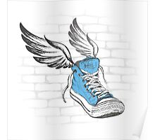Vintage Sneakers with wings, hand drawing Poster