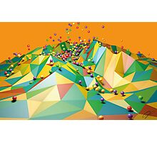 Low Polygon Landscape with Balls Photographic Print