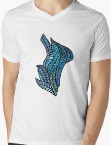 Blue Geometric Mosaic Mens V-Neck T-Shirt