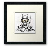 Motorcycle bike label with skul,l flames and flag Framed Print