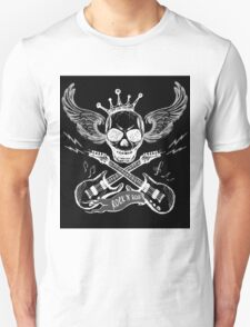 Rock and roll skull guitar on black T-Shirt