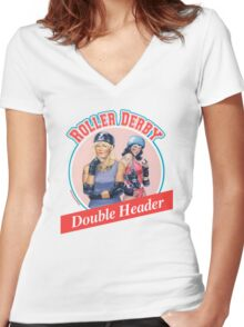 Roller Derby Double Header Women's Fitted V-Neck T-Shirt