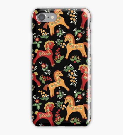 Folk horses pattern  iPhone Case/Skin