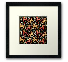 Folk horses pattern  Framed Print