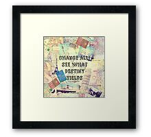 Adventure Travel Quote with travel themed vintage maps and iconic landmarks Framed Print