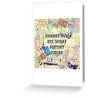 Adventure Travel Quote with travel themed vintage maps and iconic landmarks Greeting Card