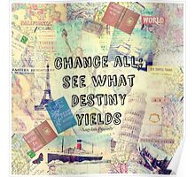 Adventure Travel Quote with travel themed vintage maps and iconic landmarks Poster