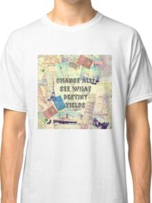Adventure Travel Quote with travel themed vintage maps and iconic landmarks Classic T-Shirt