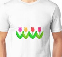 Spring Flowers Tulips in a Row Unisex T-Shirt