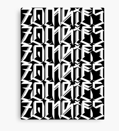 Zombies Zombies Zombies (Black) Canvas Print