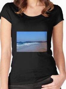 Droskyn Point, Perranporth Cornwall.. Women's Fitted Scoop T-Shirt