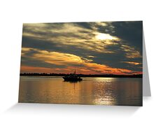 Sunset Over The Water Greeting Card