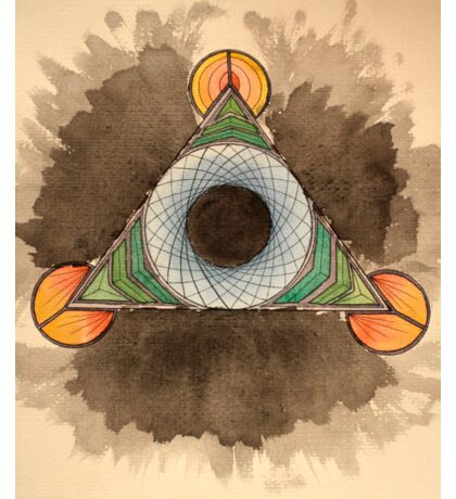 Abstract watercolor triangle circle design Sticker