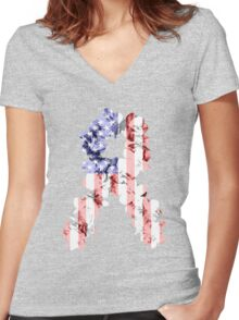 Red, White and Blue Flower Ribbon Women's Fitted V-Neck T-Shirt