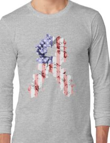 Red, White and Blue Flower Ribbon Long Sleeve T-Shirt