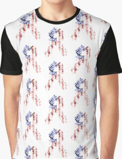 Red, White and Blue Flower Ribbon Graphic T-Shirt