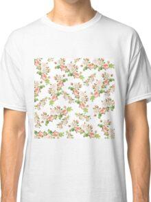 Pastel coral white elegant vintage floral pattern  Classic T-Shirt