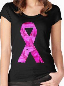 Pink Azalea Flowers Awareness Ribbon Women's Fitted Scoop T-Shirt