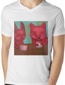 Cat Cafe Mens V-Neck T-Shirt