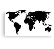 Black World Map Canvas Print
