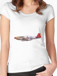 Vintage P-51 Mustang Tuskegee Airmen World War II Women's Fitted Scoop T-Shirt
