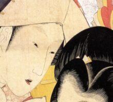 'Young Woman Looking Through a Telescope' by Katsushika Hokusai (Reproduction) Sticker